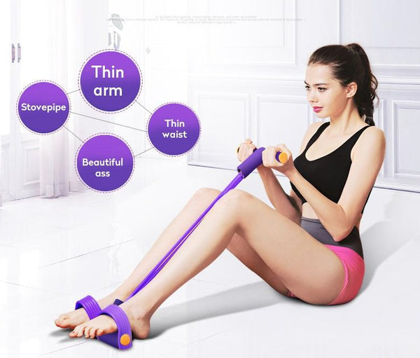 4 Tube Fitness Elastic Sit Up Pull Rope Abdominal Exerciser for Indoor