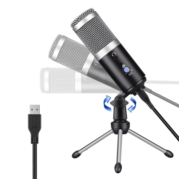 USB Microphone Metal Condenser Recording Microphones Studio Adjustable Mic
