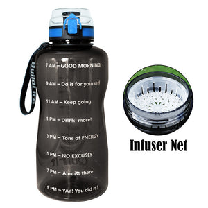 2.0L Large Sports Water Bottle with Time Markings