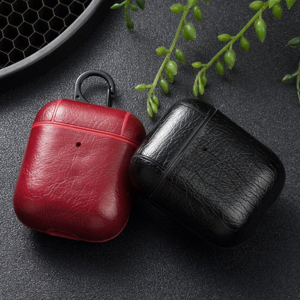 AirPods Leather Case, Portable Protective Shockproof Cover for Apple AirPods AirPods