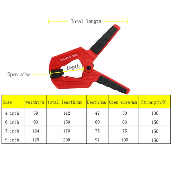 Heavy duty woodworking plastic spring clamp
