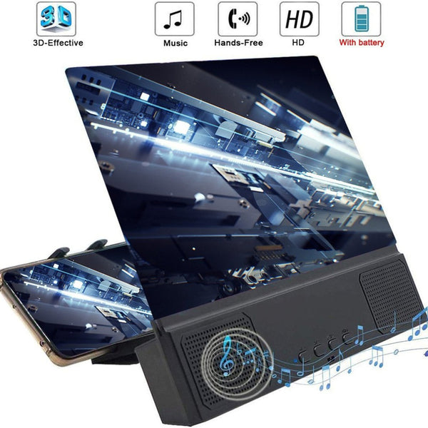 Universal 12 inch 3D Phone Screen Amplifier For Bluetooth Speaker Mobile Phone Screen
