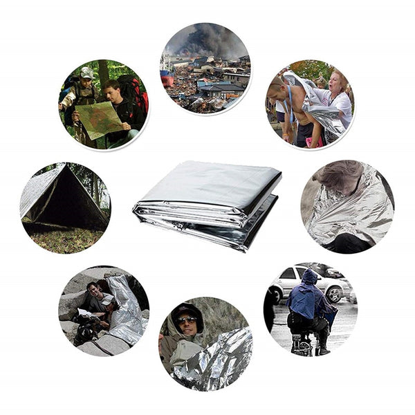 3 pack New Outdoor Water Proof Emergency Rescue Blanket Foil Thermal Space First Aid Sliver Rescue Curtain