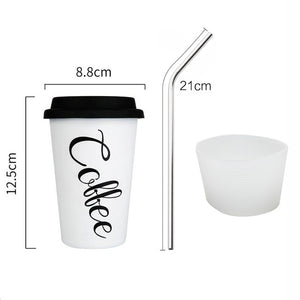 Thickened Stainless Steel Coffee Mugs Coffee Cup 450ml With Cup Sleeve Lid Straw