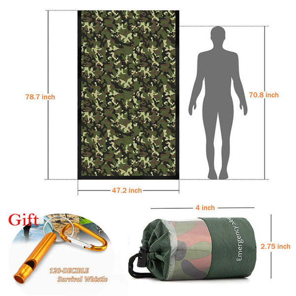 Outdoor Life Bivy Emergency Sleeping Bag Keep Warm Waterproof Mylar Camping Survival Gear