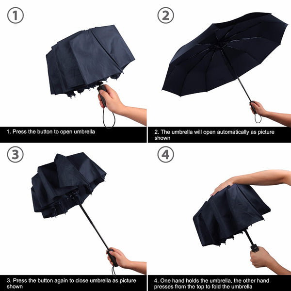 Luxury big wind folding automatic umbrella black coating 10K Parasol