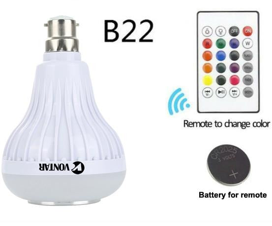 VONTAR E27 B22 Wireless Bluetooth Speaker+12W RGB Bulb LED Lamp 110V 220V Smart Led Light Music Player Audio with Remote Control