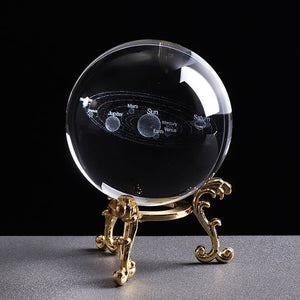 6CM Laser Engraved 3D Miniature Planets Model Sphere Glass Globe