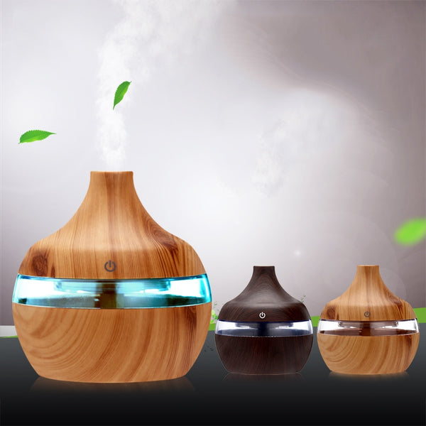 USB Mini Electric Humidifier Ultrasonic Wood Grain Air Humidifier LED Light