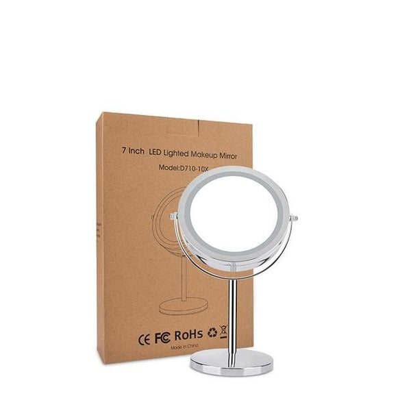 10x Magnifying Desktop Makeup Mirror with LED Light