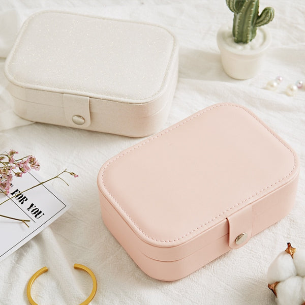 Portable Leather Jewelry Box Cosmetic Storage Box