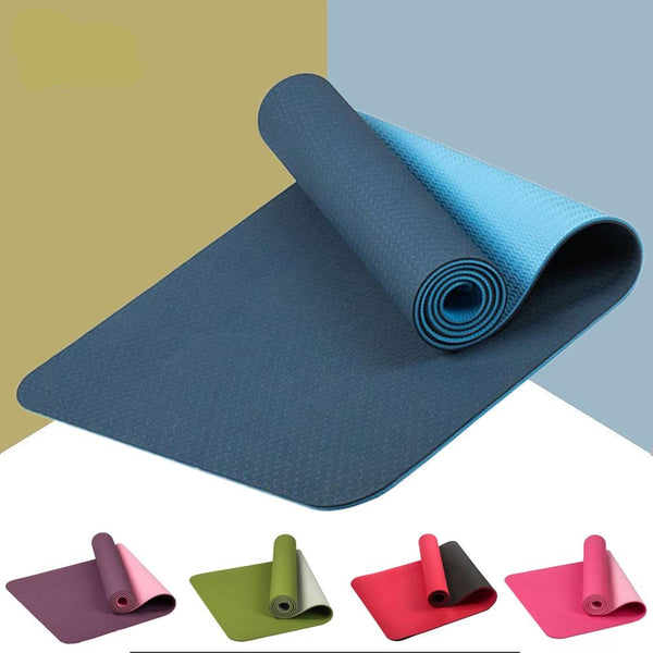 183*61cm 6mm Thick Double Color Non-slip TPE Yoga Mat