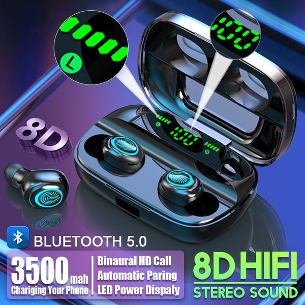 3500mAh LED Bluetooth Wireless Earphones TWS Touch Control Sport Headset Noise Cancel