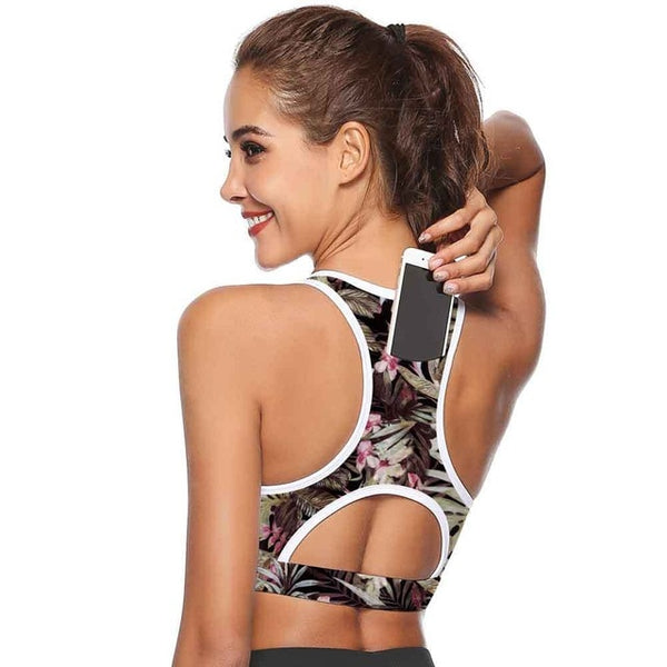 Sports Bra with Phone Pocket - Yoga Top