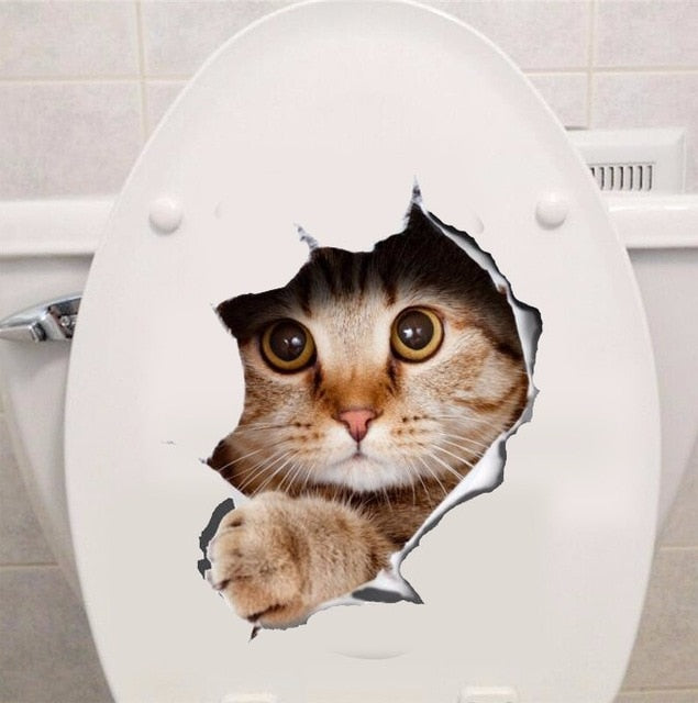 Cat 3D Wall Stickers Toilet Hole View