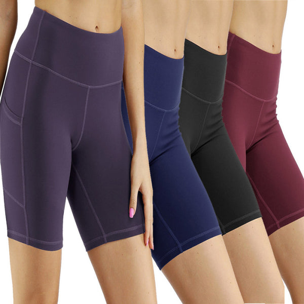 High Waist Yoga Compression Shorts with Side Pockets