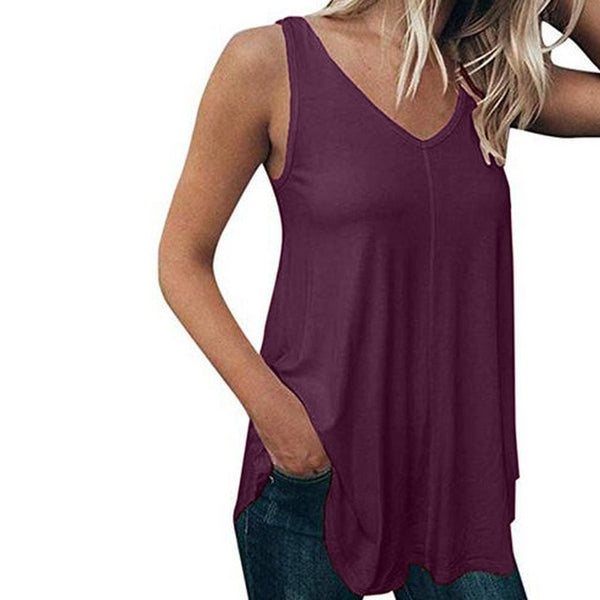 Women's Sleeveless Pure Color Shirt