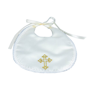 Ivory Satin Bib (Gold Cross)