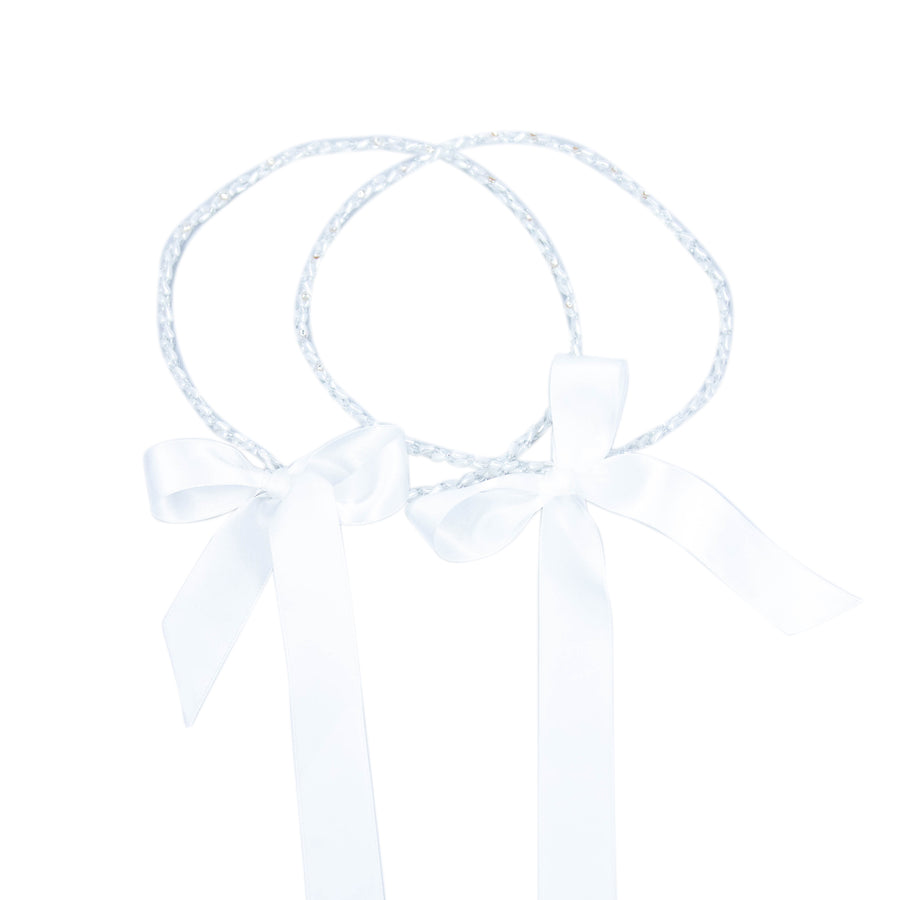 Stefana Wedding Crown White & Silver Malleable Beaded