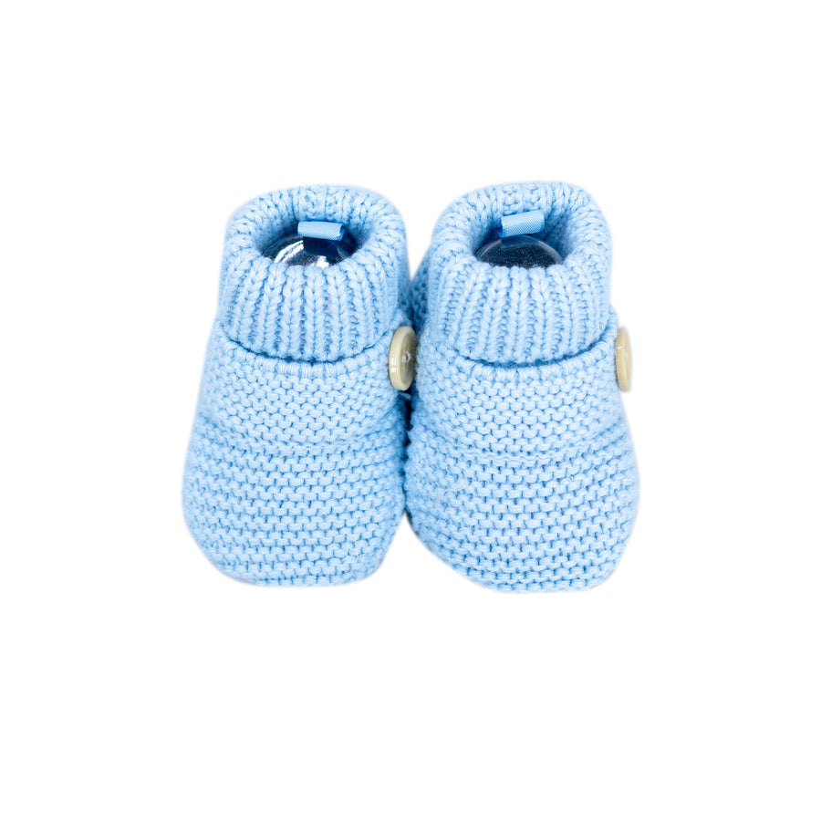 Knitted Booties Button Sky Blue