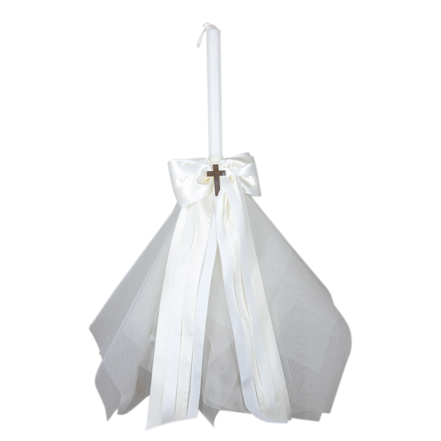 Chistening Candle White Satin Ribbon w/ Ivory Bow