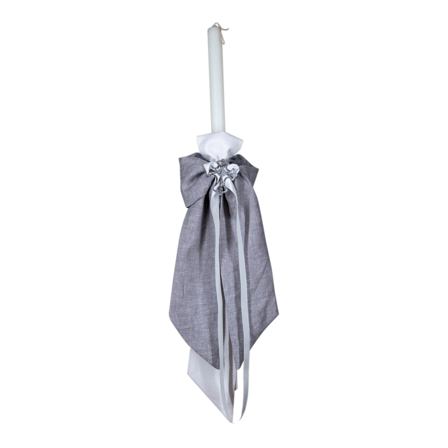 Christening Candle Grey Linen Bow