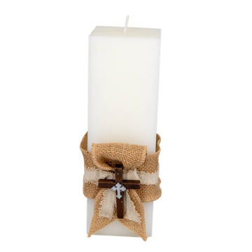 Catholic Candle Square Wodden Cross