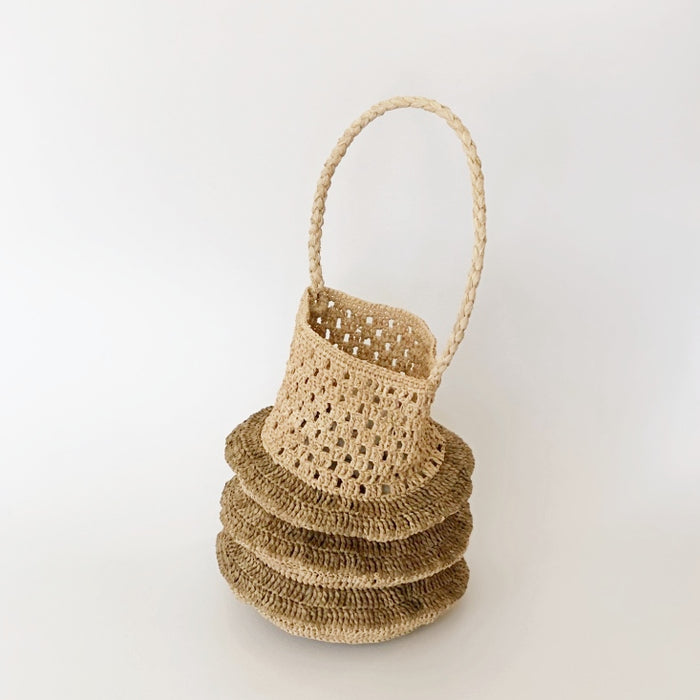 Raffia Accordion Bag