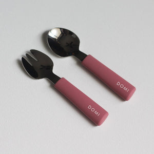 Chews Domi | Silicone/Stainless Steel Utensils (Dusty Rose)