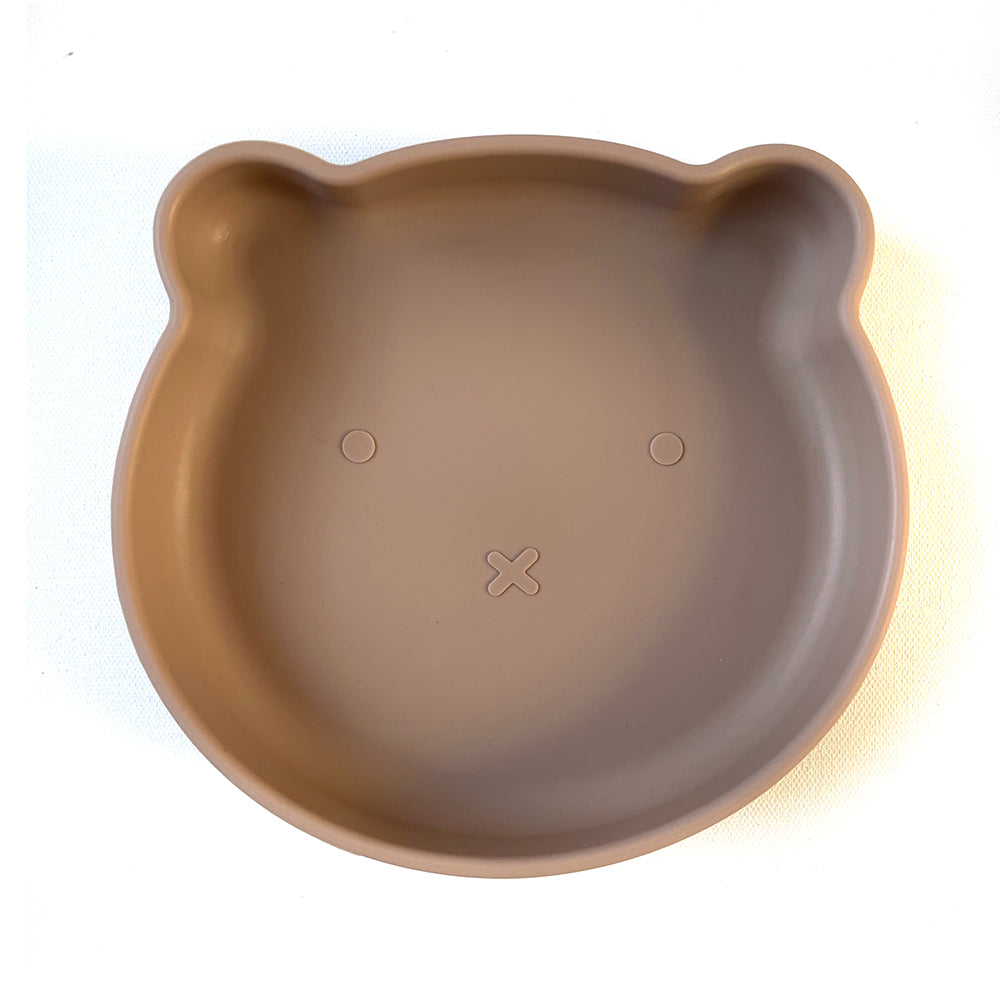Chews Domi | Silicone Modern Bear Suction Plate (Desert Taupe)