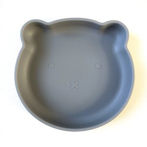 Chews Domi | Silicone Modern Bear Suction Plate (Dusty Blue)