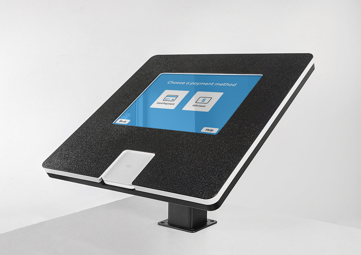 A custom Countertop kiosk with a Square chip reader.