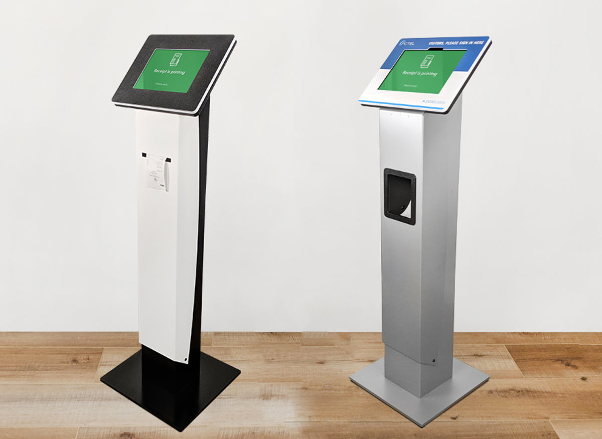 A standing Roo kiosk with a large printer slot.
