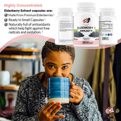 Elderberry Immunity capsules Immune Support Supplement with Zinc and Vitamin C Superfood Formula for Respiratory Health made from All Natural Herbs including seamoss sea moss gel NON-GMO Vegan Gluten Free with No Additives