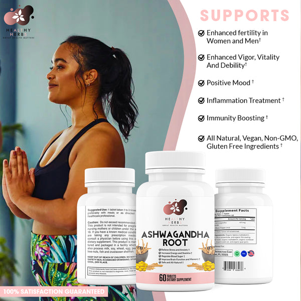 Organic Ashwagandha Capsules with Black Pepper Extract Vegan Pills Supplement Stress Relief Anxiety Immune Thyroid Adrenal Support Mood Enhancer Anti Anxiety made from All Natural Herbs NON-GMO Vegan Gluten Free with No Additives