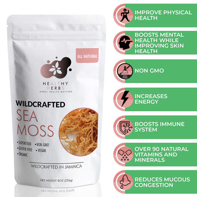 Sea moss wildcrafted 100% organic Jamaican seamoss irish moss seaweed also known as carragen moss is naturally grown along the shorelines of Jamaica and St. Lucia as well as the Atlantic shorelines of Europe and North America.