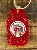 Valentine's Day Car Freshies - Red Mason Jar in Leather