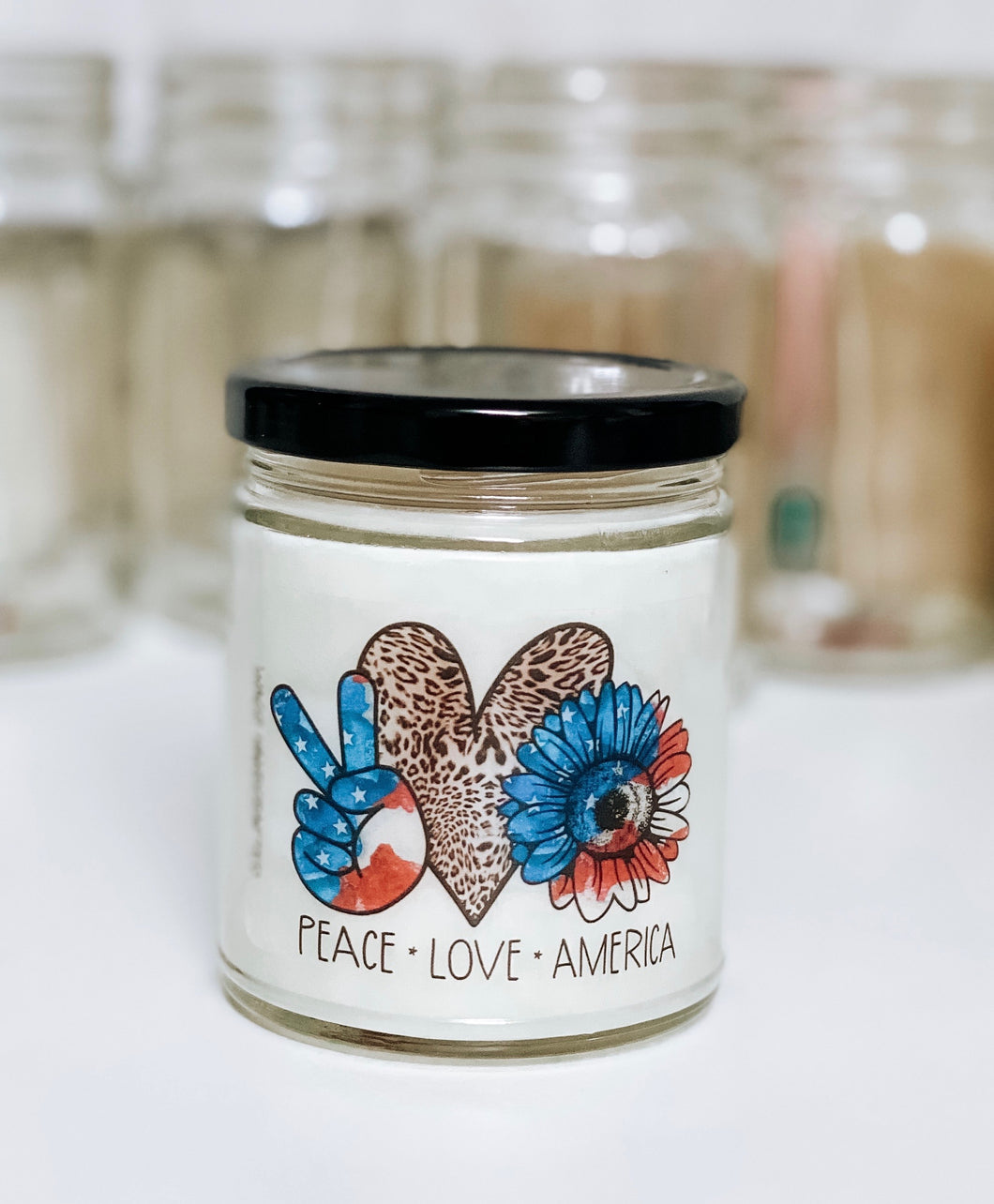 Leopard Peace, Love, America Scented Candle | 9 oz or 16 oz | Novelty Candle