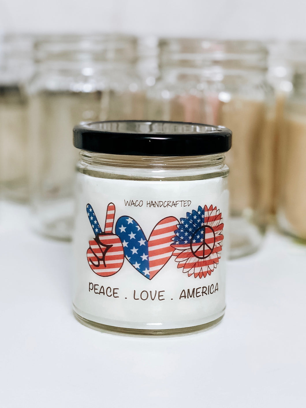 Red & Blue Peace. Love. America Scented Candle | 9 oz or 16 oz | Novelty Candle