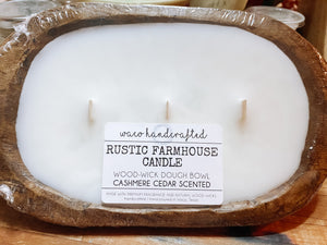 Rustic Farmhouse Cashmere Cedar Mini 3-Wick Dough Bowl Candle