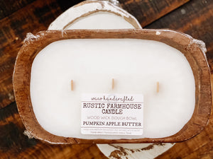 Rustic Farmhouse Pumpkin Apple Butter Mini 3-Wick Dough Bowl Candle