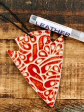 Load image into Gallery viewer, Red Tooled Leather Arrowhead Car Charm