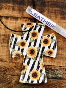 Sunflower Cross Leather Car Charm