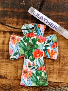 Spring Cactus Cross Leather Car Charm