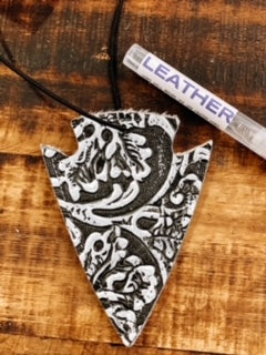 Montana Black/White Tooled Arrowhead Leather Car Charm