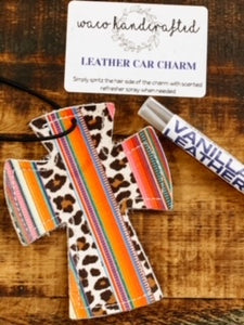 Serape Leopard Cross Leather Car Charm