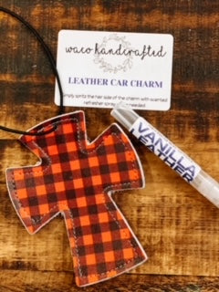 Buffalo Plaid Cross Leather Car Charm