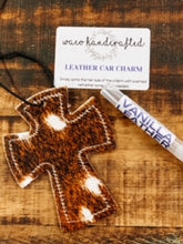 Load image into Gallery viewer, Axis Deer Hide Cross Leather Car Charm