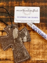 Load image into Gallery viewer, Acid Wash Hair on Hide Cross Leather Car Charm