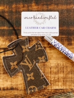 LV Cross Leather Car Charm